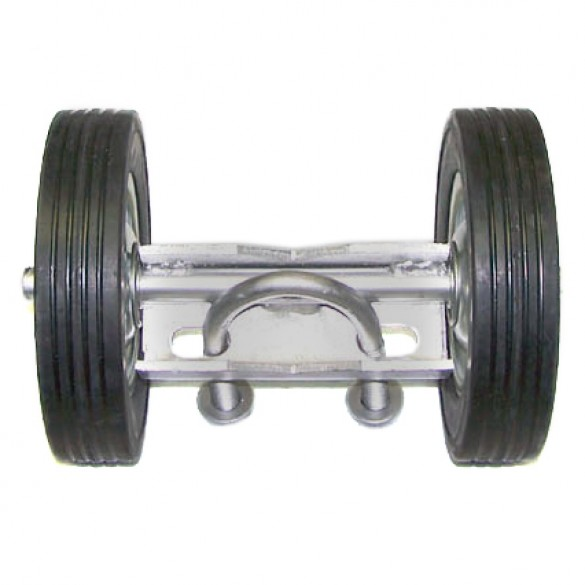 "6"" Wide Domestic Double Wheel Gate Rollers with 10"" Rubber Tires"