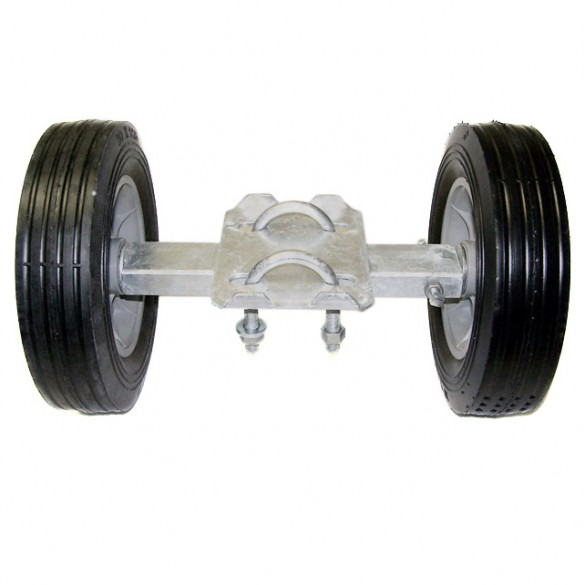 "12"" Wide Domestic Double Wheel Gate Rollers with 10"" Rubber Tires and 2 1/2"" U-Bolt"