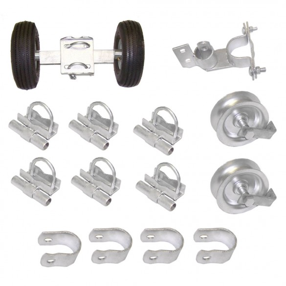 "Domestic Industrial Rolling Gate Hardware Kit with 6"" Tires and 7"" Rear Wheels"