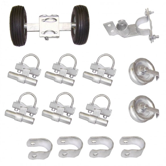 "Domestic Safety Industrial Rolling Gate Hardware Kit with 10"" Tires and 7"" Rear Wheels"