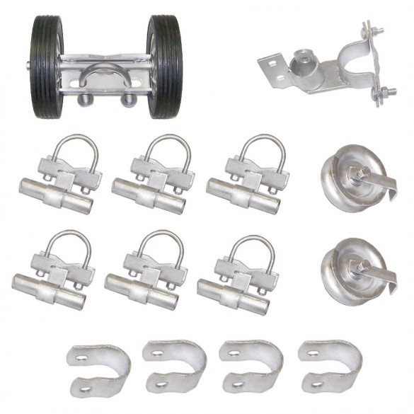 """Domestic Safety Industrial Rolling Gate Hardware Kit with 6"""" Carrier and 6"""" Tires"""