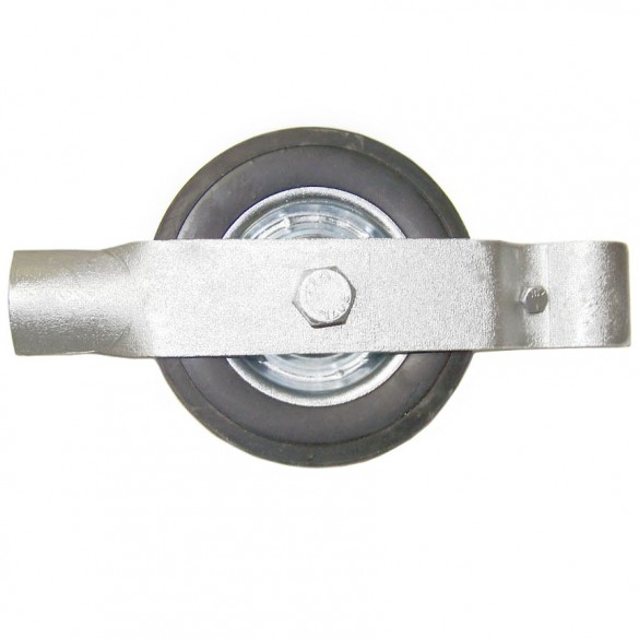 """2"""" Single Wheel Gate Rollers with 6"""" Rubber Tires (Fits 1 7/8"""" OD)"""