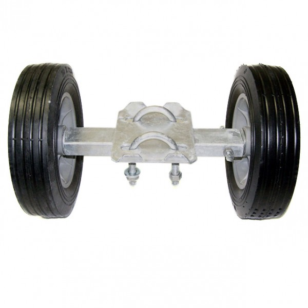 "12"" Wide Domestic Double Wheel Gate Rollers with 10"" Rubber Tires"