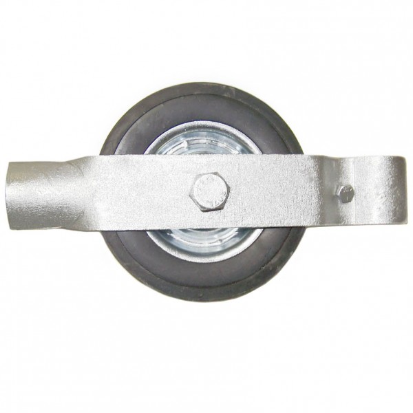 "2"" Single Wheel Gate Rollers with 8"" Rubber Tires (Fits 1 7/8"" OD)"